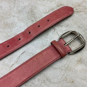 ELLEN TRACY — GENUINE LEATHER — Pink Thin Belt — M